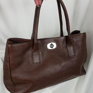 Furla Brown Pebbled Leather Shoulder Bag